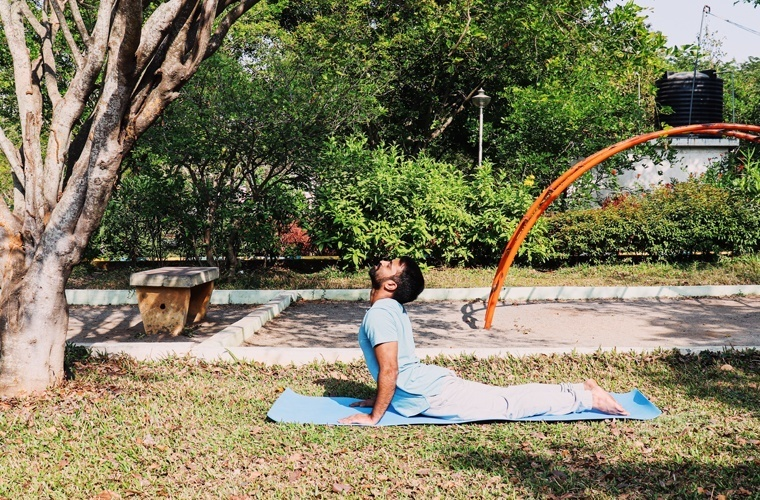 This is the perfect hand position in Bhujangasana as your hands are slightly bent at the elbows and elbows are pointing backside.