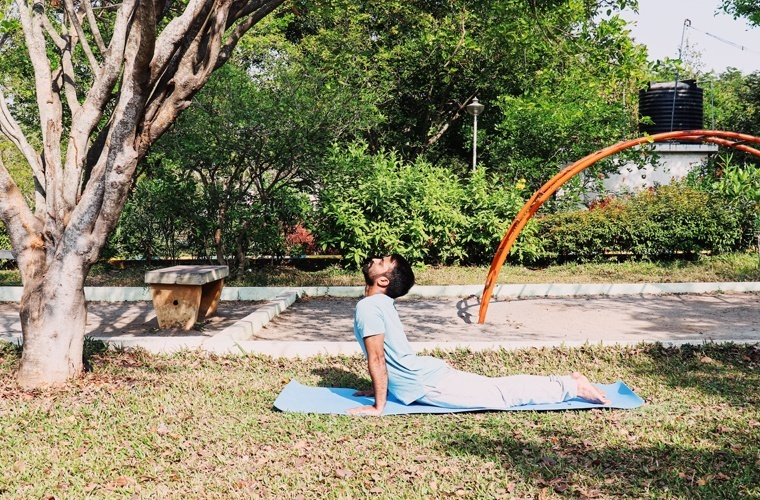 This is an incorrect elbow position in Bhujangasana as it is stiff and locked.