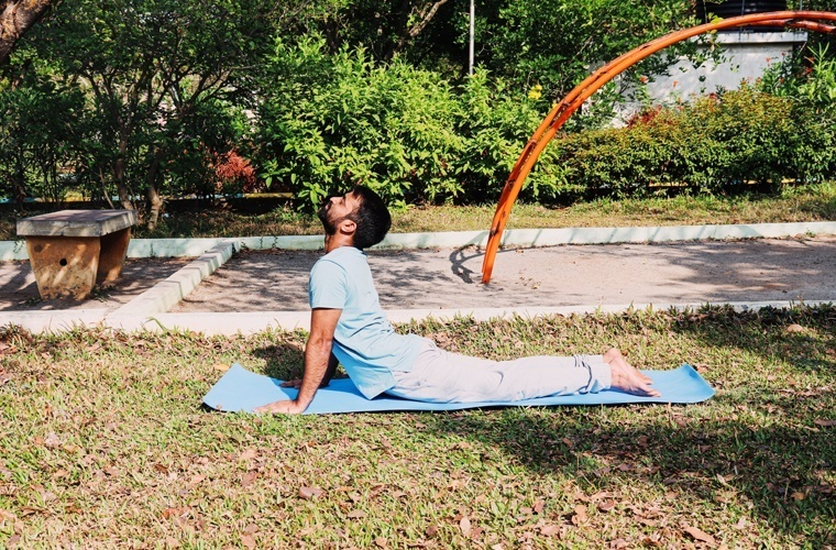 This is one variation of Bhujangasana where you increase the spread of your whole body.